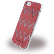 Guess 3D Effect Stripes Chevron - Silikon Cover - Apple iPhone 7 - Rot