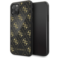 Guess 4G Dobble Layer Glitter Case - Apple iPhone 11 Pro Max - Schwarz - Cover - Schutzhülle