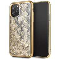 Guess 4G Peony Liquid Glitter Case - Apple iPhone 11 Pro - Gold - Cover - Schutzhülle