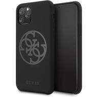 Guess 4G Silicon Collection Print Logo Case - Apple iPhone 11 Pro Max - Schwarz - Hard Cover - Schutzhülle