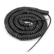 HDK Hörerschnur /  Hörerkabel, schwarz lang (ca. 4 m ausgezogen) Spiralkabel