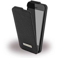 Hugo Boss Reflex - Leder Flip Cover für Apple iPhone 5/ 5S/ SE - Schwarz