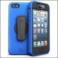 iSkin revo 360 - Silikon Schutzhülle mit Gürtelclip für Apple iPhone 5/ 5s/ SE - blau, schwarz