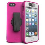 iSkin revo 360 - Silikon Schutzhülle mit Gürtelclip für Apple iPhone 5/ 5s/ SE - pink, weiß