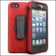 iSkin revo 360 - Silikon Schutzhülle mit Gürtelclip für Apple iPhone 5/ 5s/ SE - rot, schwarz