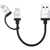 Just Mobile AluCable Duo mini, 2-in1-Kabel mit Lightning- und Micro-USB-Anschluss