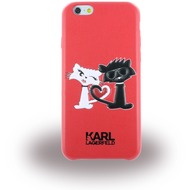 Karl Lagerfeld Choupette in Love, TPU Cover für Apple iPhone 6/ 6S, rot