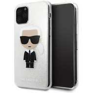 Karl Lagerfeld Iconic Glitter Case - Apple iPhone 11 Pro Max - Silber - Hard Cover - Schutzhülle