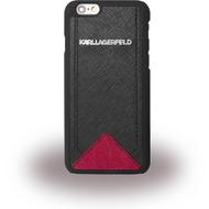 Karl Lagerfeld Klassic Saffiano, Hardcover für Apple iPhone 6/ 6S, schwarz/ rot