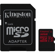 Kingston microSDHC 100R/ 70W U3 UHS-I V30 A1 Card + SD Adapter,32GB
