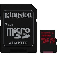 Kingston microSDXC 100R/ 80W U3 UHS-I V30 A1 Card+ SD Adapter,128GB