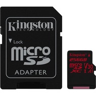Kingston microSDXC 100R/ 80W U3 UHS-I V30 A1 Card+ SD Adapter,256GB