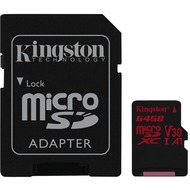 Kingston microSDXC 100R/ 80W U3 UHS-I V30 A1 Card + SD Adapter,64GB