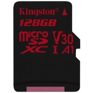 Kingston microSDXC 100R/ 80W U3 UHS-I V30 A1 Single Pack, 128GB