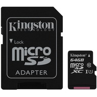 Kingston microSDXC Card Class 10 UHS-1 mit SD Adapter, 64GB
