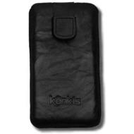Konkis Echtleder-Etui für iPhone 5/ 5S/ SE, washed schwarz
