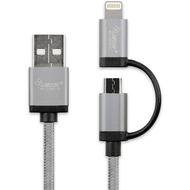 LEICKE KanaaN Datenkabel - USB auf Apple Lightning /  Micro USB, 1.80m - silber