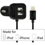 LEICKE KFZ-Ladegerät Dual-USB + Lightning-Stecker - schwarz