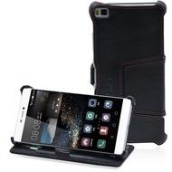 LEICKE MANNA UltraSlim Hülle für Huawei P8, Nappaleder, schwarz