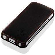 LEICKE MANNA UltraSlim Schutzhülle VerticalFlip für Apple iPhone 5/ 5S/ SE, Leder, schwarz
