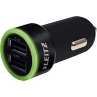 Leitz Complete Universelles USB Kfz-Ladegerät 24 Watt, 2x USB, schwarz