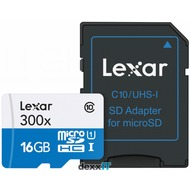 Lexar microSDHC - High Speed 16GB mit Adapter - Class 10 - 300x