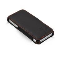 MANNA UltraSlim BookCover aus Oberleder für Apple iPhone 5/ 5S/ SE, schwarz