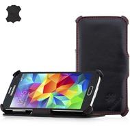 LEICKE MANNA Bookcover aus Nappaleder für Samsung Galaxy S5, schwarz