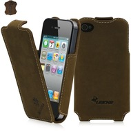 LEICKE MANNA UltraSlim-FlipCover aus Nubukleder für iPhone 4/ 4s, braun