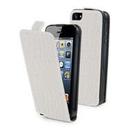 muvit Croco Slim, Leder Klapp Hülle für iPhone 5, Weiß