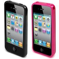 muvit i-Belt Clear für iPhone 4 /  4S, 2er Pack Fuchsia, Schwarz