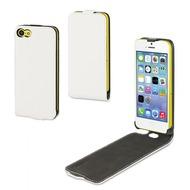muvit Slim, Leder Klapp Hülle für iPhone 5C, Weiß