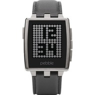 Pebble Steel Smartwatch Brushed Stainless mit Lederarmband