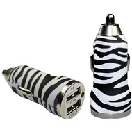 Pedea Dual-USB KFZ Adapter Fashion, 2.1A, zebra
