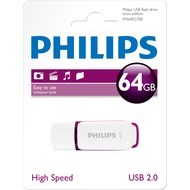 Philips USB 2.0 Stick 64GB - Snow Edition - White - Purple (R) 14MB/ s - (W) 3MB/ s