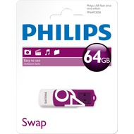 Philips USB 2.0 Stick 64GB - Vivid Edition - White - Purple (R) 14MB/ s - (W) 3MB/ s