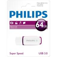 Philips USB 3.0 Stick 64GB - Snow Edition - White - Purple (R) 55MB/ s - (W) 10MB/ s
