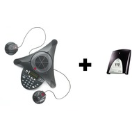 Polycom SoundStation 2 EX mit 2 Zusatzmikrofonen und ISDN-Adapter