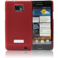 Made for Samsung Schutzschale metal look für i9100 Galaxy S2, rot