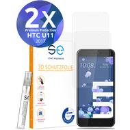 smart engineered [2x] 3D Schutzfolie HTC U11 Transparent (Klar) Front (Display) im SET inkl. Nano-Versiegelung