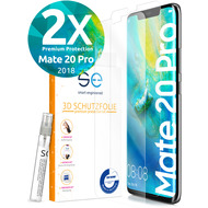 smart engineered [2x] 3D Schutzfolie Huawei Mate 20 Pro Transparent (Klar) Front (Display) im SET inkl. Nano-Versiegelung