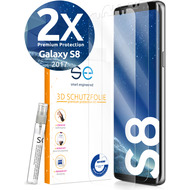 smart engineered [2x] 3D Schutzfolie Samsung Galaxy S8 Transparent (Klar) Front (Display) im SET inkl. Nano-Versiegelung