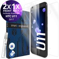 smart engineered 3D Schutzfolien für HTC U11, 2x Premium HD Displayschutzfolien, 1x Folie Rückseite [FULLBODY SET]