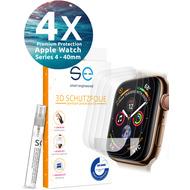 smart engineered [4x] 3D Schutzfolie Apple Watch 40mm (Series 3/ 2/ 1) Transparent (Klar) Front (Display) im SET inkl. Nano-Versiegelung