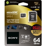 Sony microSDXC Card 64GB, Expert, Class 10, UHS-I 95MB/ s, 633x, inkl. SD-Card Adapter, Retail-Blister