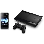 Sony Xperia U, schwarz-wei� + PlayStation 3 Super Slim 500GB