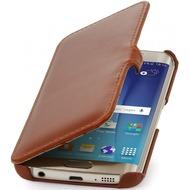 Stilgut Leder-Hülle BookCover für Samsung Galaxy S6 Edge, cognac
