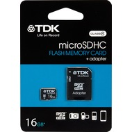 TDK microSDHC Card 16GB, Class  4 inkl. SD-Card Adapter, Retail-Blister