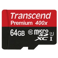 Transcend 64GB microSDXC Class 10 UHS-I 400x + SD Adapter