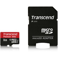 Transcend microSDHC Class 10 UHS-I 400x, 8GB + SD Adapter